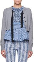 Altuzarra Cropped Merino Wool Cardigan with Ribbon Details