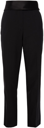 Helmut Lang Silk Satin-trimmed Wool-twill Straight-leg Pants