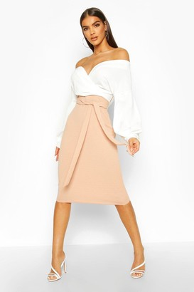 boohoo Contrast Off Shoulder Wrap Midi Dress