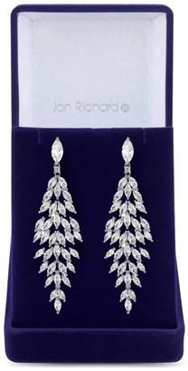 Jon Richard Jewellery Jon Richard Rhodium Plated Cubic Zirconia Statement Crystal Navette Drop Earring - Gift Boxed