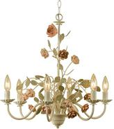 AF Lighting Ramblin' Rose 6-Light Antique Cream Chandelier with Floral Accents
