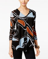 Alfani Printed Mesh Ruffled Top, Only at Macy's