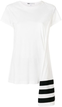 Y-3 stripe asymmetric hem T-shirt