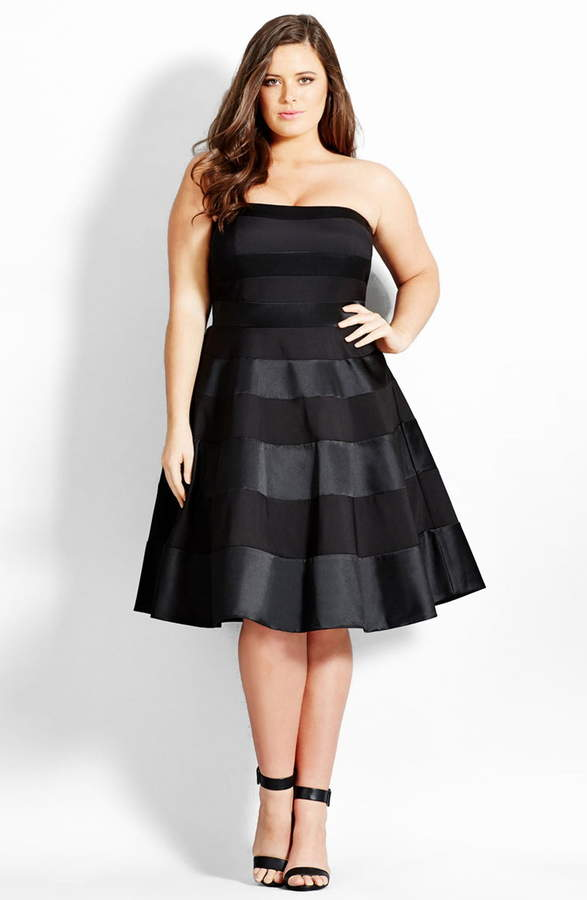 City Chic 'Miss Shady' Stripe Strapless Fit & Flare Party Dress