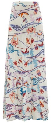 Le Sirenuse Le Sirenuse, Positano - Sevallina Magic Flower-print Tiered Cotton Skirt - Womens - Cream Print