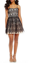 Jodi Kristopher Strapless Two-Tone Lace Fit-And-Flare Dress