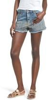Sun & Shadow Women's Gold Spray Fray Hem Denim Shorts