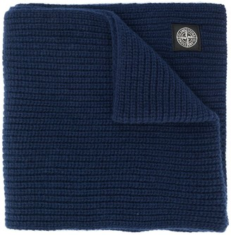 Stone Island Logo Patch Wool Scarf