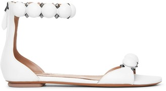 Alaia Bombe white calf leather flat sandals