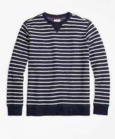 Brooks Brothers Reverse French Terry Striped Crewneck Pullover
