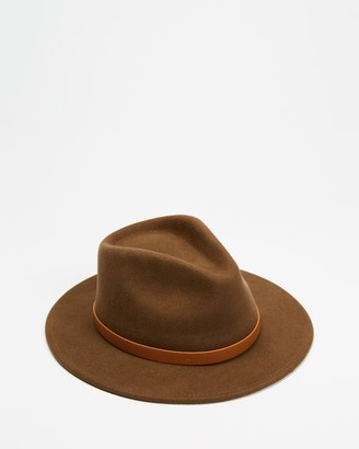 Brixton Brown Hats - Messer Fedora - Size XS at The Iconic