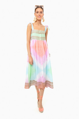 Juliet Dunn Cotton Tie Dye Tie Shoulder Dress