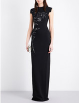 Antonio Berardi Bead-embroidered crepe gown
