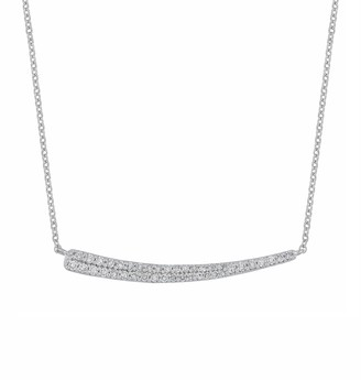 Carriere Sterling Silver Pave Diamond Curved Bar Pendant Necklace - 0.18 ctw