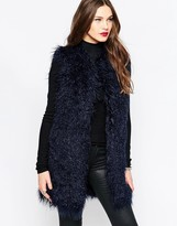 French Connection Chicago Faux Fur Vest In Phantom