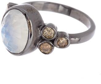 ADORNIA Sterling Silver Moonstone & Diamond Ring