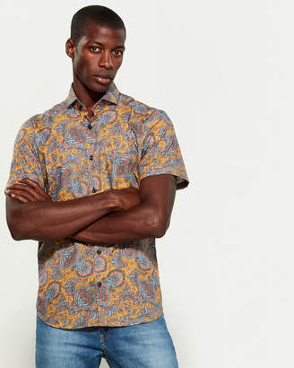 Jared Lang Slim Fit Paisley Short Sleeve Sport Shirt