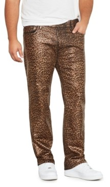 Mvp Collections By Mo Vaughn Productions Men's Big Tall Leopard Print Wax Straight Fit Jeans