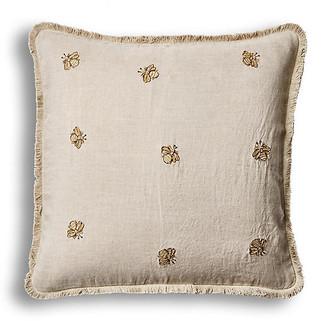 Joanna Buchanan Emb Bee Fringe 20x20 Pillow - Natural Linen