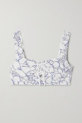 Marysia Swim Palm Springs Lace-up Scalloped Floral-print Stretch-crepe Bikini Top
