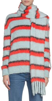 Marc Jacobs Runway) Fuzzy Striped Silk-Knit Scarf