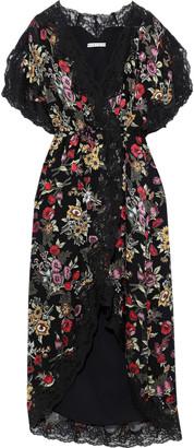 Alice + Olivia Adele Floral-print Fil Coupe Chiffon Midi Wrap Dress