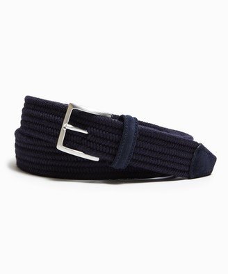 Andersons Cashmere Stretch Woven Belt in Navy