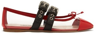 Miu Miu Buckle-fastening Plexi And Leather Ballet Flats - Womens - Red