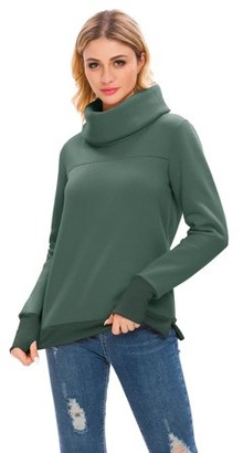 Lilly Posh Solid Long Sleeve Cowl Neck Pullover with Back Pleat
