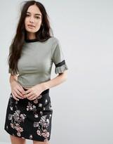 Boohoo Ruffle Sleeve Metallic T-Shirt