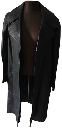 Lanvin Black Leather Coat for Women Vintage