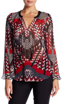 Hale Bob Long Sleeve Silk Tunic Blouse