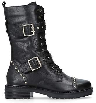 Kurt Geiger London Sting Biker Boots, Black Leather