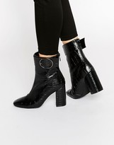 Public Desire Kim Ring Buckle Croc Heeled Ankle Boots