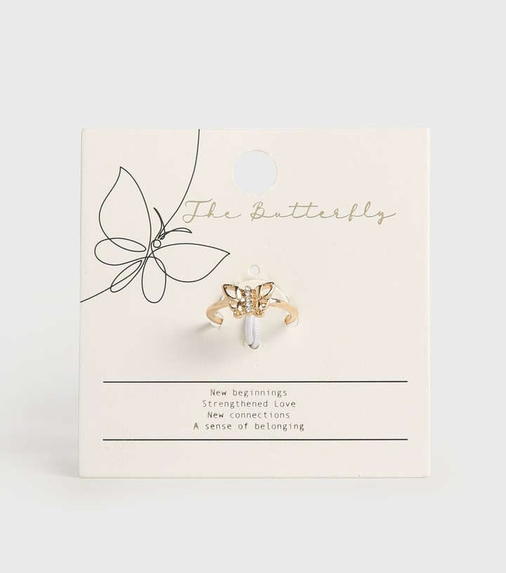 Thumbnail for your product : New Look Diamante Butterfly Ring