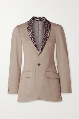 R 13 Leopard-print Crepe-trimmed Cotton-twill Blazer - Beige