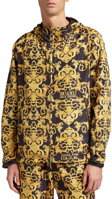 Versace Jeans Couture Men's Baroque Logo Reversible Wind-Resistant Jacket