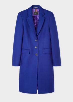 Women's Indigo Three-Button Wool-Blend Epsom Coat