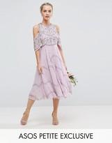 Asos Wedding Embellished Floral Cold Shoulder Midi Dress