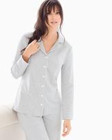 Soma Intimates Long Sleeve Notch Collar Pajama Top Ribbon Stripe