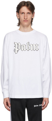 Palm Angels White Blank Logo Long Sleeve T-Shirt