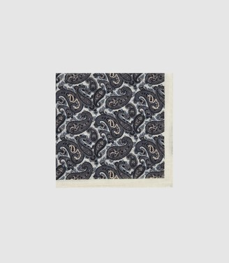 Reiss Ford - Wool Paisley Pocket Square in Ecru