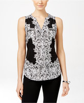 INC International Concepts Sleeveless Printed Zipper Top, Only at Macy's