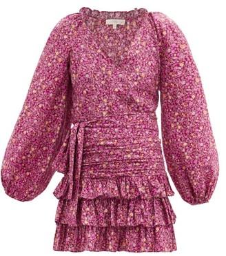 LoveShackFancy Rina Floral-print Ruched Cotton Mini Dress - Pink Print