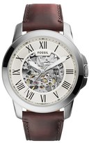 Fossil Men's 'Grant' Automatic Leather Strap Watch, 45Mm