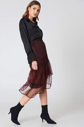 NA-KD Bottom Frill Glitter Skirt Red
