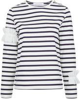 Leur Logette Navy Stripe Ruffle Sleeve Top