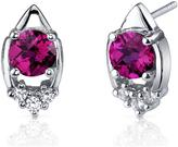 Ice 2 CT TGW Ruby Polished Sterling Silver Stud Earrings with CZ Accents