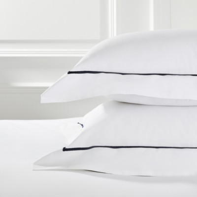 The White Company Oxford Pillowcase with Border Single, White Navy, Standard