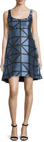 Milly Roxanne Sleeveless Graphic Gridded Jacquard Dress, Ice/Black